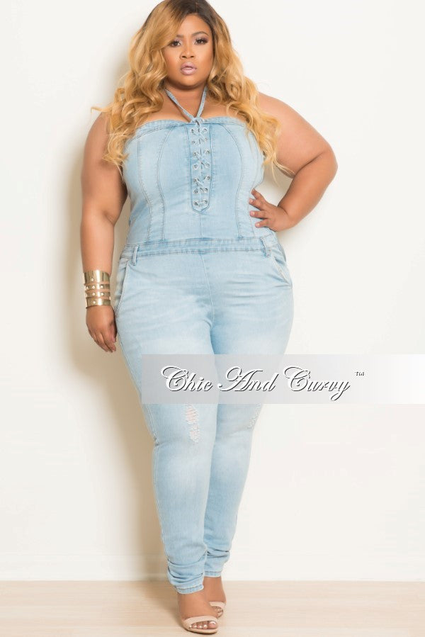 final sale plus size halter top jumpsuit with side zipper in light