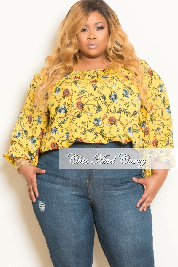 New Plus Size Floral Off the Shoulder Top in Yellow, Red and Blue