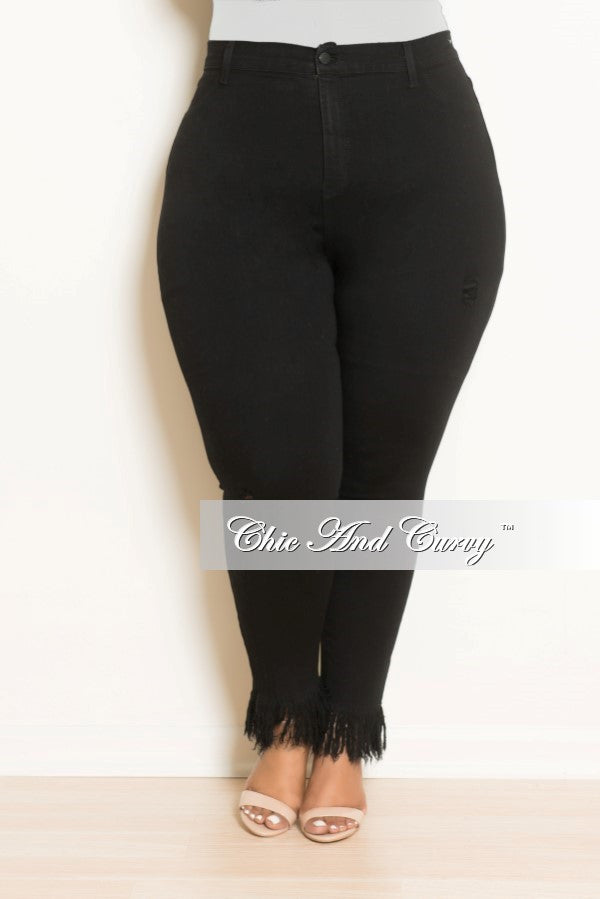 New Plus Size High Waist Jean with Bottom Fringes in Black