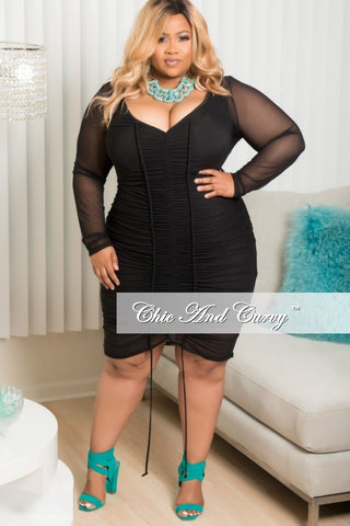 New Plus Size BodyCon Sheer Ruched Dress in Black