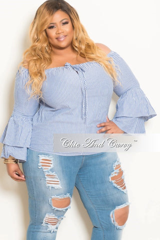 New Plus Size Striped Off the Shoulder Top with Bell Bottom Sleeves in Blue and White