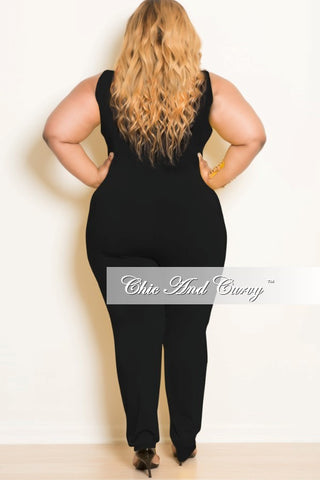New Plus Size Sleeveless Jumpsuit with Belly Cutout in Black