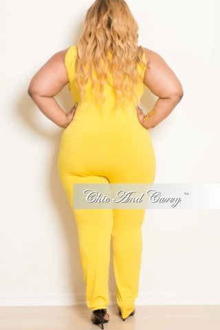 New Plus Size Sleeveless Jumpsuit with Belly Cutout in Yellow