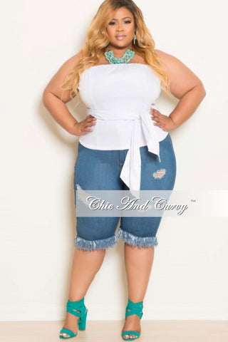 New Plus Size Bermuda Shorts with Bottom Fringe in Denim