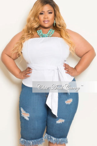 Final Sale Plus Size Strapless Zip Up Front Wrap Around Top in White