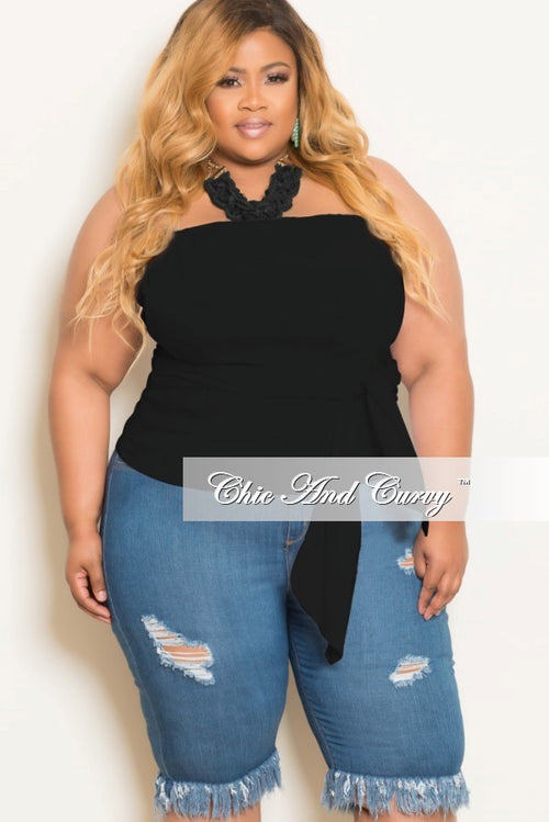 Final Sale  Plus Size Strapless Zip Up Front Wrap Around Top in Black