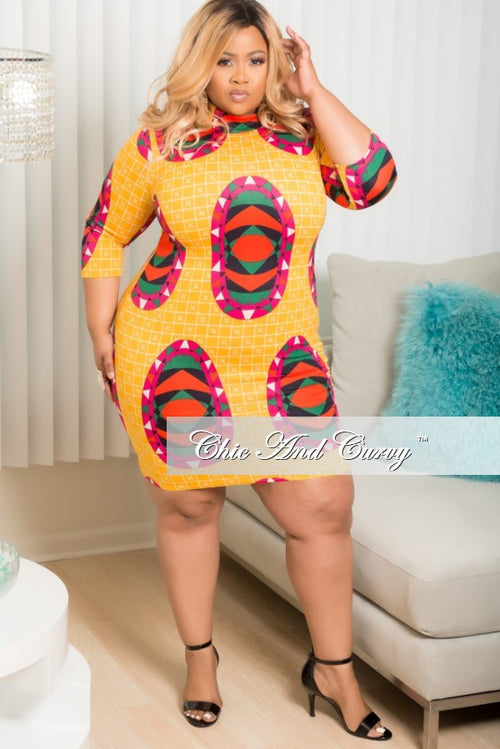 Final Sale Plus Size Multi Color BodyCon with Aztec Print