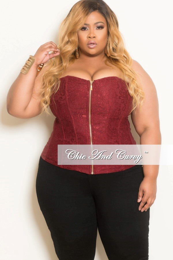 Final Sale Plus Size Strapless Zip Up Bustier Corset Top in Maroon