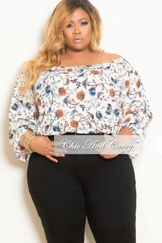 Final Sale Plus Size Floral Off the Shoulder Top in Off White, Red and Blue