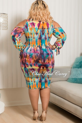 New Plus Size Cold Shoulder Long Sleeve with Tie BodyCon Dress in Teal, Magenta, Orange, Purple, Pink and Yellow