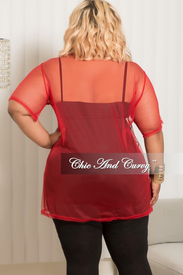 Final Sale Plus Size Mesh Los Angeles Top in Red