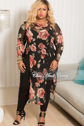 50% Off Sale - Final Sale Plus Size Mesh Top in Black Floral Print