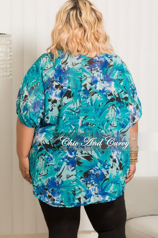 Final Sale Plus Size Chiffon Cardigan in Royal Blue,Teal and Black