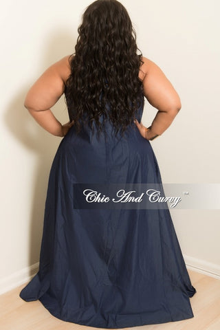 New Plus Size Halter Long Pocket Dress in Denim