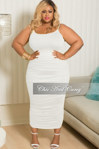Final Sale Plus Size BodyCon Dress with Ruched Sides in White