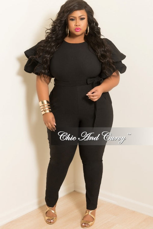 New Plus Size Jumpsuit with Ruffle Sleeves and Attached Tie in Black