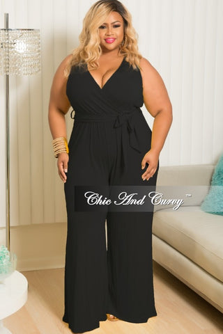 New Plus Size Faux Wrap Wide Leg Jumpsuit with Attached Tie in Black