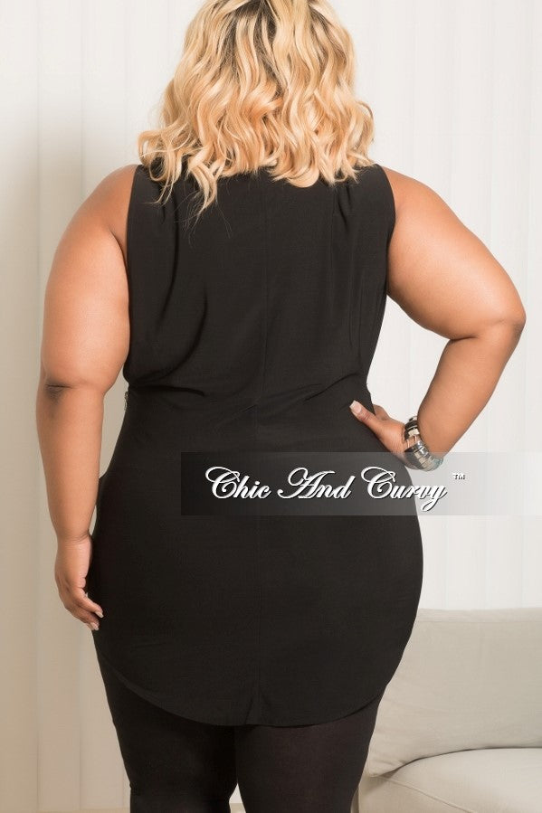 Final Sale Plus Size Sleeveless Dress/Top with Wide Arm Holes and Silver Side Zipper in Black