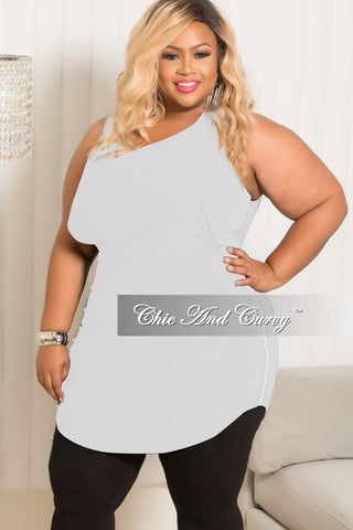 Final Sale Plus Size Sleeveless Dress/Top with Silver Side Zipper in White