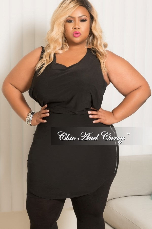 Final Sale Plus Size Sleeveless Dress/Top with Silver Side Zipper in Black