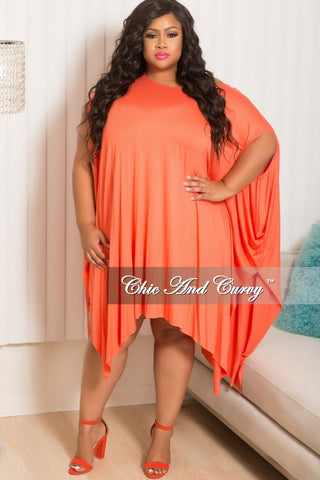 New Plus Size Long Off The Shoulder Handkerchief Dress in Coral