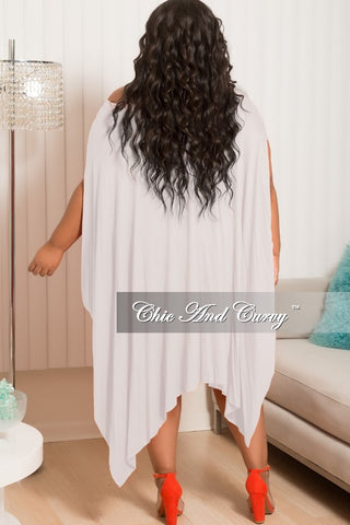 Final Sale Plus Size Long Off The Shoulder Handkerchief Dress in Off White