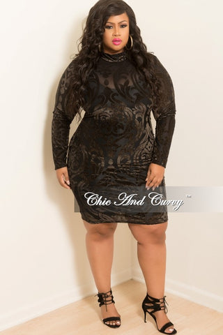 New Plus Size Shimmer Mesh BodyCon Dress in Black and Brown