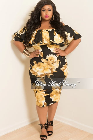 New Plus Size Off the Shoulder Ruffle BodyCon Dress in Black and Gold Floral Print
