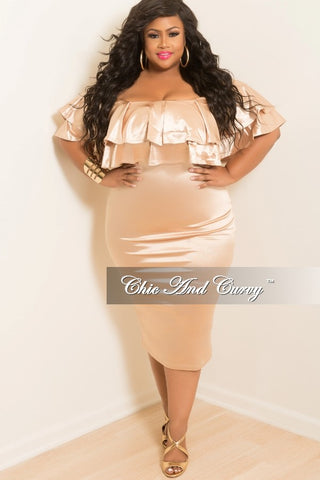 New Plus Size Off the Shoulder BodyCon Ruffle Dress in Gold