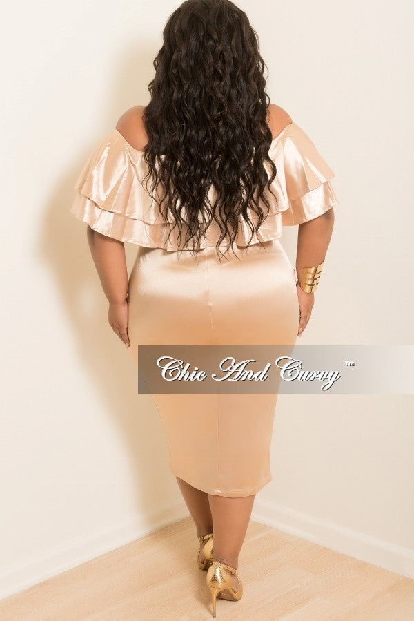 Final Sale Plus Size Off the Shoulder BodyCon Ruffle Dress in Gold