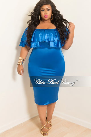 New Plus Size Off the Shoulder BodyCon Ruffle Dress in Royal Blue