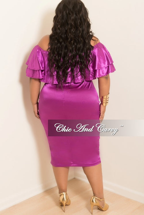 Final Sale Plus Size Off the Shoulder BodyCon Ruffle Dress in Magenta