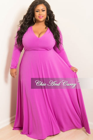 New Plus Size Long Sleeve Gown with V-Neck Purple