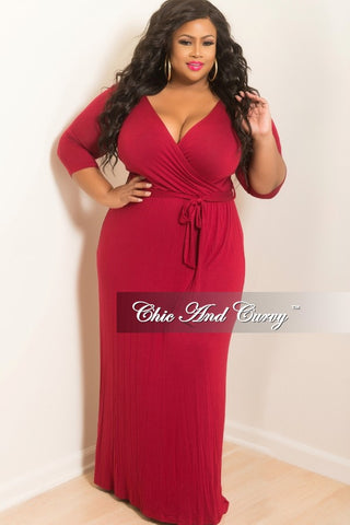 Final Sales Plus Size 3/4 Sleeve Faux Wrap Dress with Tie in Burgundy