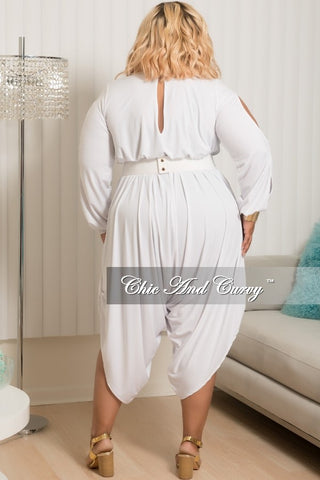 Final Sale Plus Size Cold Shoulder Long Sleeve Jumpsuit in White