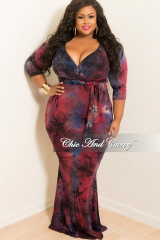 New Plus Size Tie Dye Faux Wrap Dress with 3/4 Sleeve and Attached Tie in Purple, Royal Blue, Black and Coral