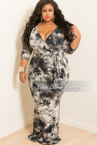 New Plus Size Tie Dye Faux Wrap Dress with 3/4 Sleeve and Attached Tie in Black, Navy & Grey