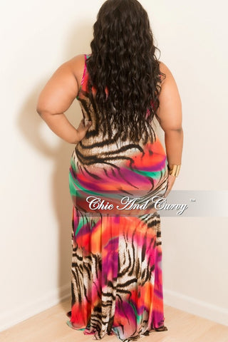 Final Sale Plus Size Sleeveless BodyCon Zip Up Maxi Dress with Mermaid Bottom in Multi Color Print