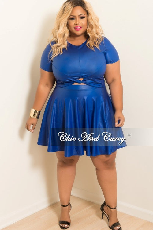 Final Sale Plus Size Liquid Skater 2-piece Set with Knot Front in Royal Blue