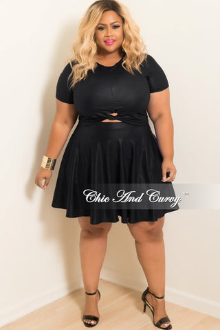 50% Off Sale - Final Sale Plus Size Liquid Skater 2-piece Set with Knot Front in Black