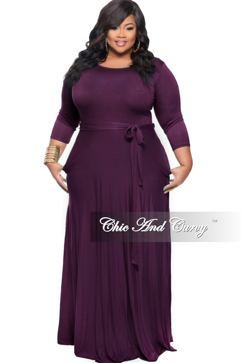 New Plus Size Long Dress with 3/4 Sleeve and Tie in Plum