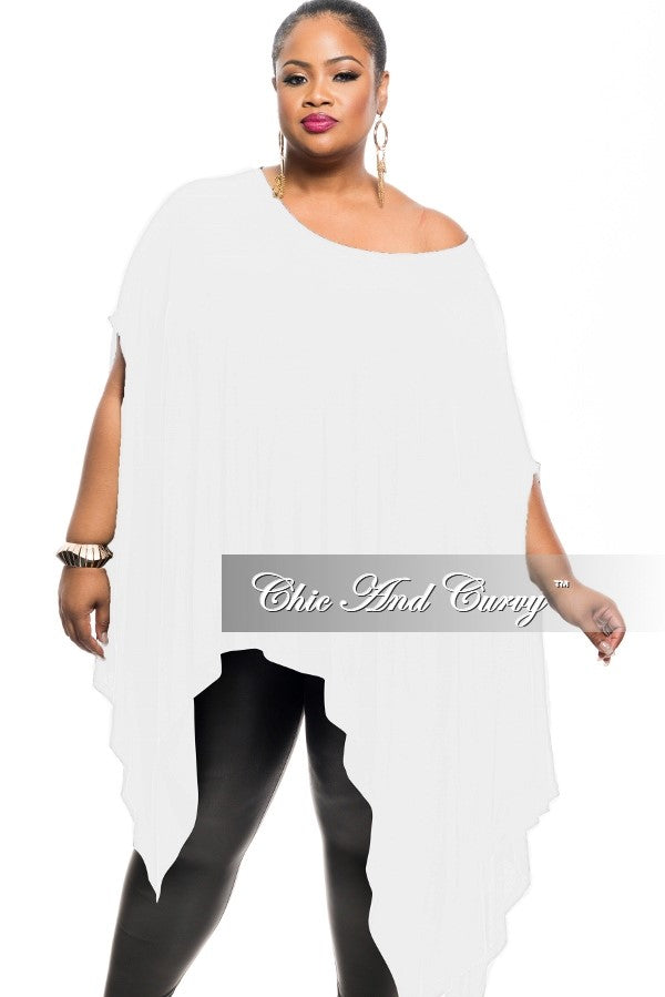 Final Sale Plus Size Draped Oversized Tunic Top in White One Size Fits Most
