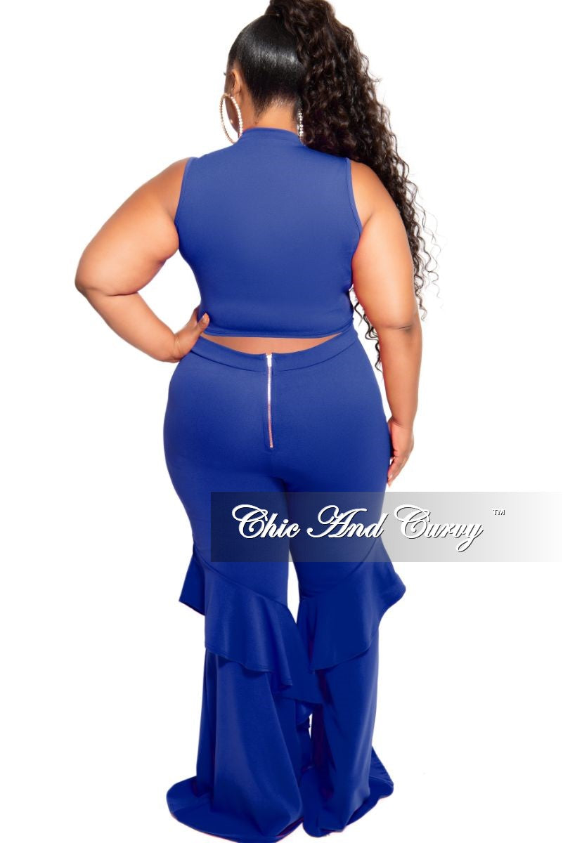 New Plus Size 2-Piece Sleeveless Zip-Up Crop Top and Bell Bottom Ruffle Pants Set in Royal Blue