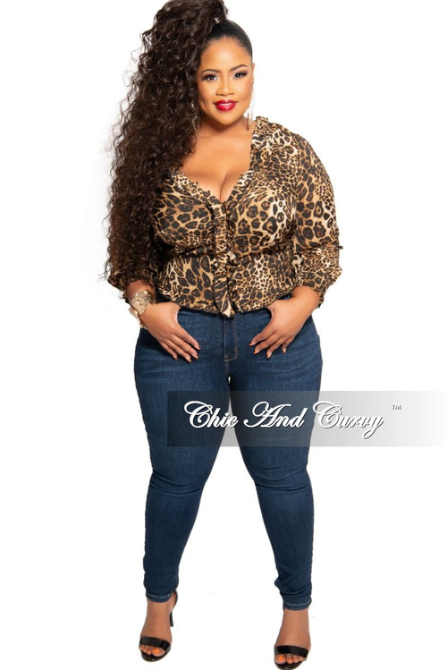 Final Sale Plus Size Chiffon Button Up Frill Blouse in Animal Print