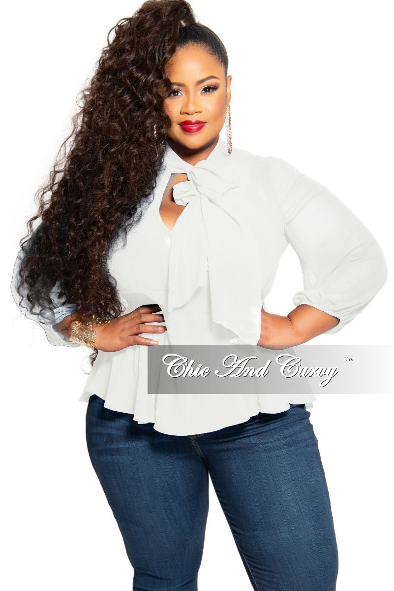 Final Sale Plus Size Sheer Chiffon Peplum Bow Tie Blouse in Ivory