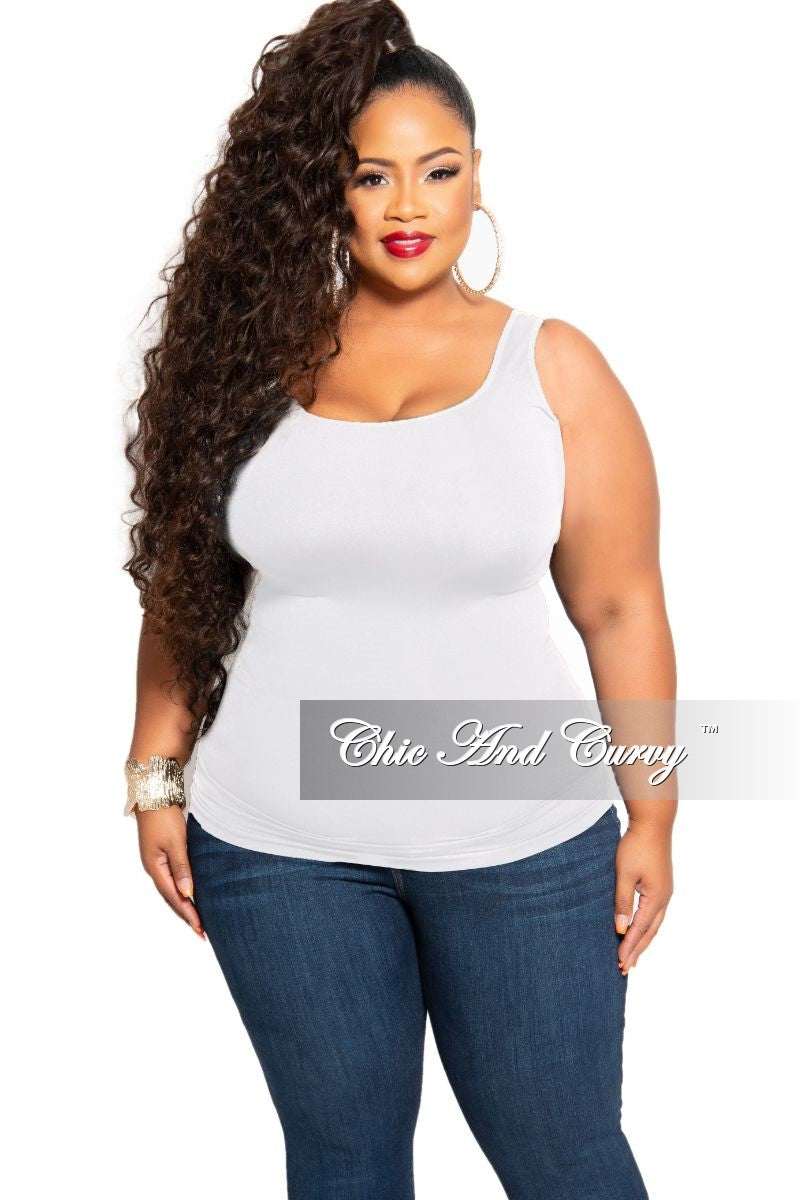 Final Sale Plus Size Camisole with Thick Straps in White
