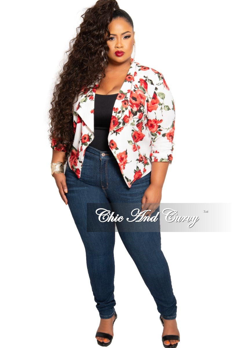 Final Sale Plus Size Long Sleeve Blazer in White Floral Print