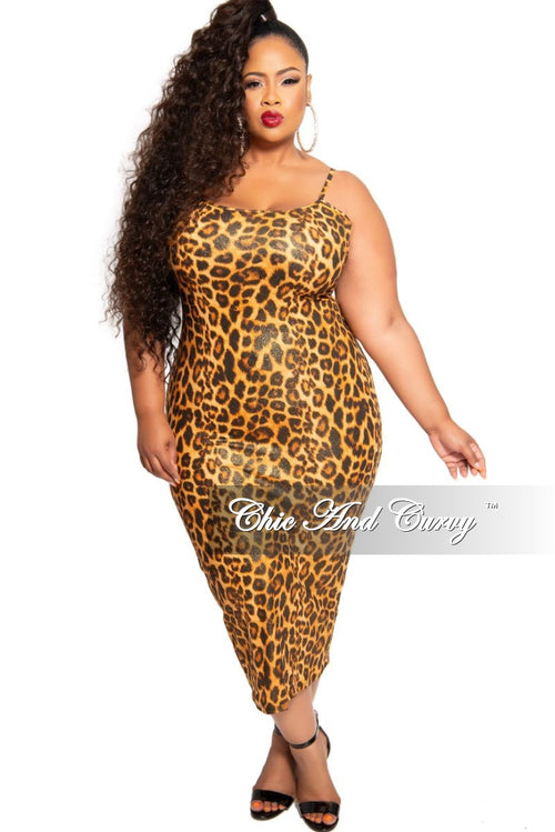Final Sale Plus Size Spaghetti Strap BodyCon Dress is Gold Shimmer Animal Print