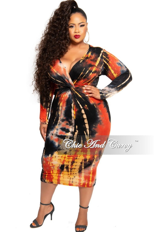 New Plus Size Deep V Twist BodyCon Dress in Orange and Black Tie Dye Print