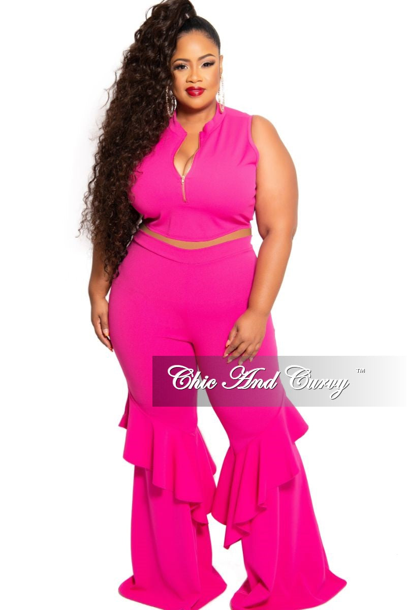 New Plus Size 2-Piece Sleeveless Zip-Up Crop Top and Bell Bottom Ruffle Pants Set in Hot Pink